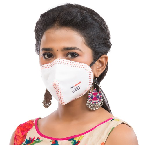 Best mask produced for a common Man | Washable | Reusable with superior protection & comfort |Armour  White  with red dots