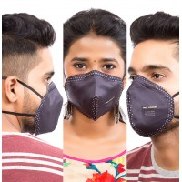 Best mask produced for a common Man | Washable | Reusable with superior protection & comfort | Pack of 3  | Armour - black