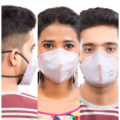 Best mask produced for a common Man | Washable | Reusable with superior protection & comfort |  Pack of 3 |  Armour | Grey