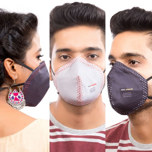 Best mask produced for a common Man | Washable | Reusable with superior protection & comfort |  Pack Of 3  - Armour - 2 Black & 1 Grey