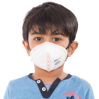 Best mask produced for Kids | Washable | Reusable with superior protection & comfort  | Armour - White With Red Dots