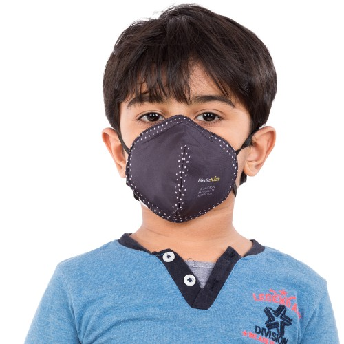 Best mask produced for Kids | Washable | Reusable with superior protection & comfort |Armour - Black with white dots