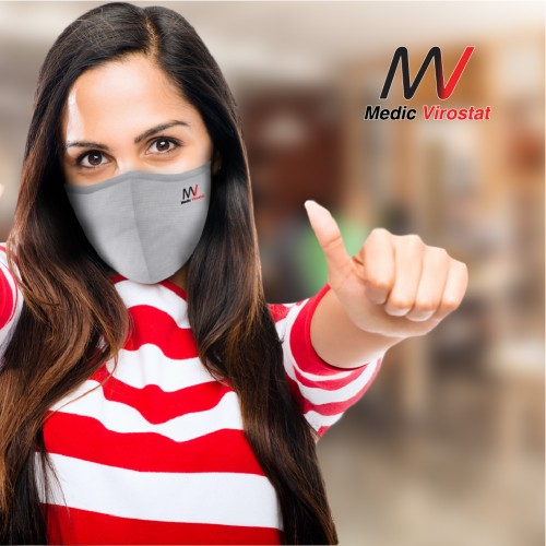 Pack of 5 | Colour combo 1 | Virostat |  Inactivate the virus with in minutes | Reusable cloth Mask