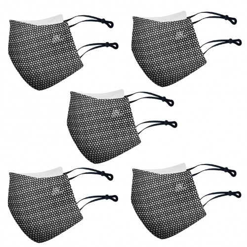 Pack of 5 Black colour combo | Virostat | Inactivate the virus with in minutes | Reusable cloth Mask